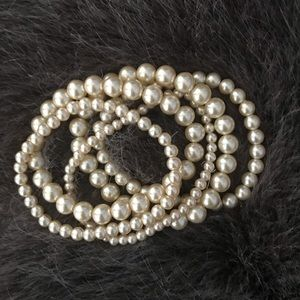 Jewelry - Set of Five Faux Pearl Stretchy Bracelets